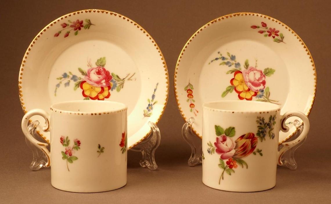 Две чайные пары. Франция. Фабрика Буазетт (Boisette). Конец XVIII в.