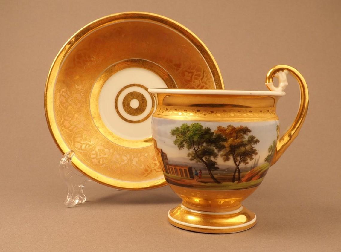 Чайная пара с пейзажем «вкруговую»